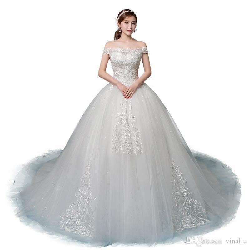 shop official photos the cheapest nouveau designer luxe corset pure robe de mariée de maternité robe de  mariée épaule wed une robe de ligne