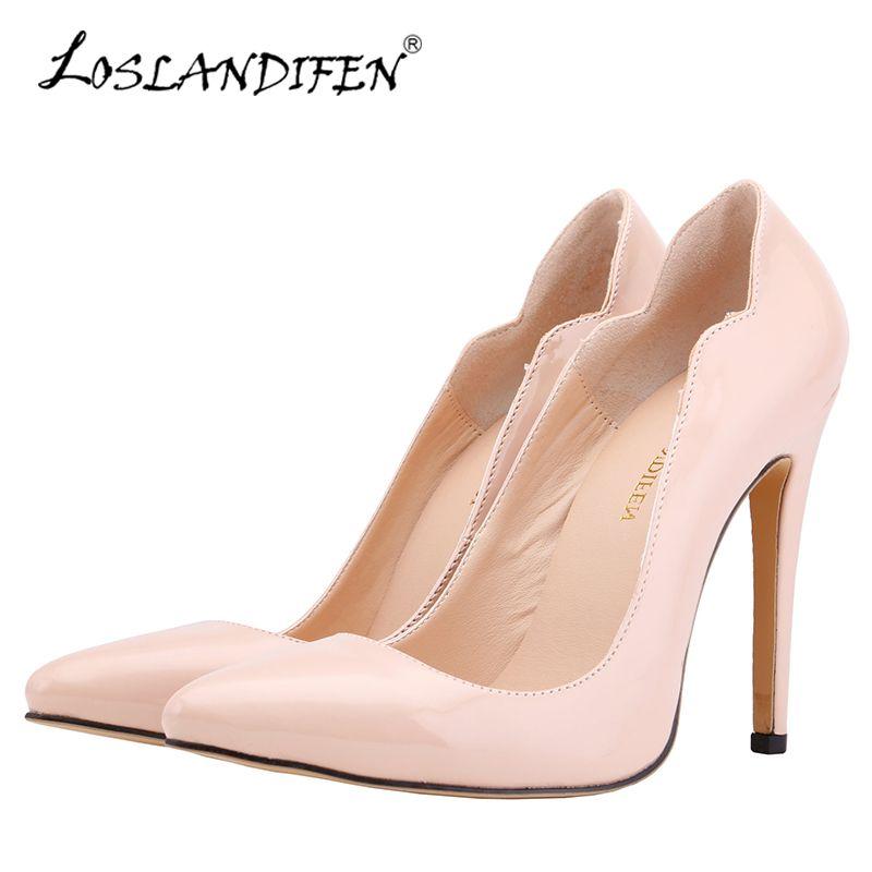 1d62547ef Compre LOSLANDIFEN Mulheres Bombas Sexy Dedo Apontado Senhoras Sapatos De Salto  Alto Valentine Sapatos Casuais Stiletto Vermelho Rosa Bombas Para Womans  302 ...