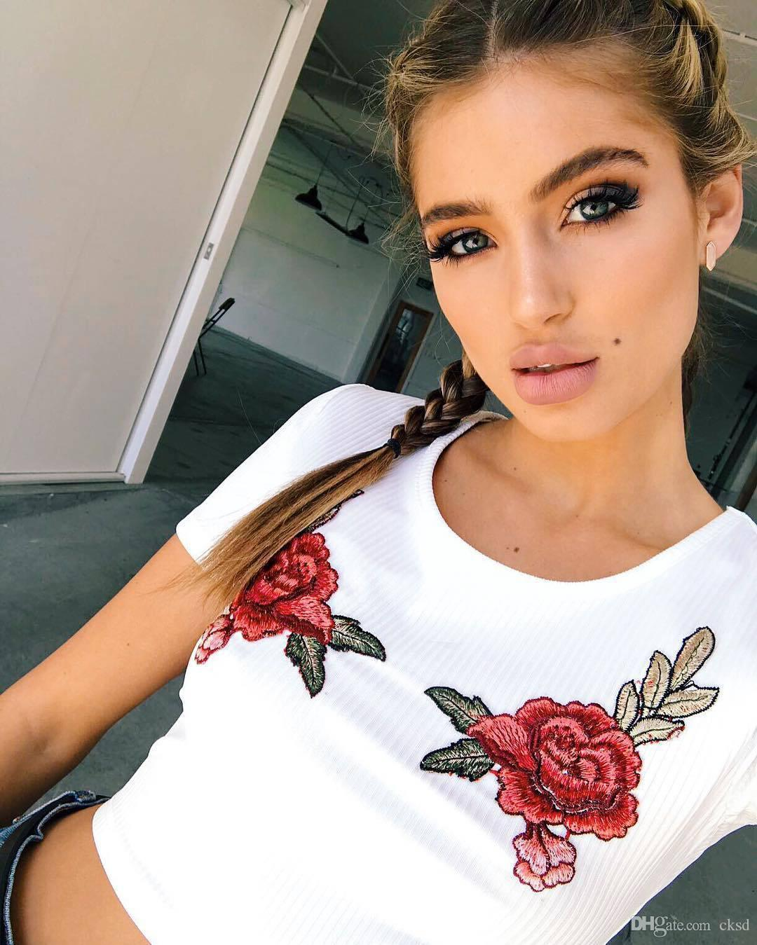 ZSIIBO 2018 summer women's new pit embroidery flowers navel short-sleeved casual rose sweet top T-shirt WT168811 WR