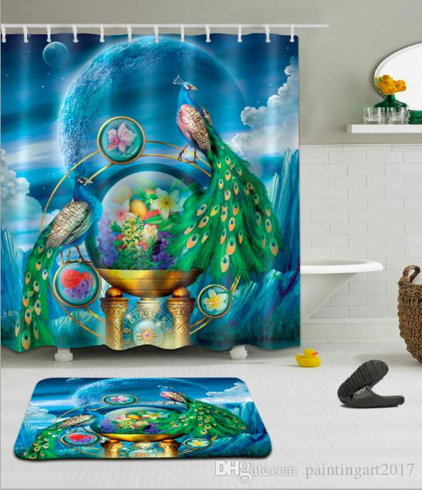 2019 3D Digital Printing Peacock Shower Curtains Polyester Waterproof Bathroom Curtain Bath With Hooks Floor Mats Sets From Paintingart2017