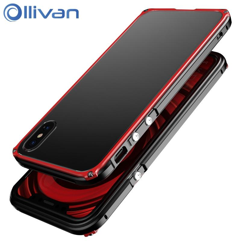 detailed look 930be f6990 Ollivan for Iphone X Case Aluminum Luxury Metal Frame Back Cover for Iphone  X Full Protection Phone Funda for Apple Iphone X Case Coque