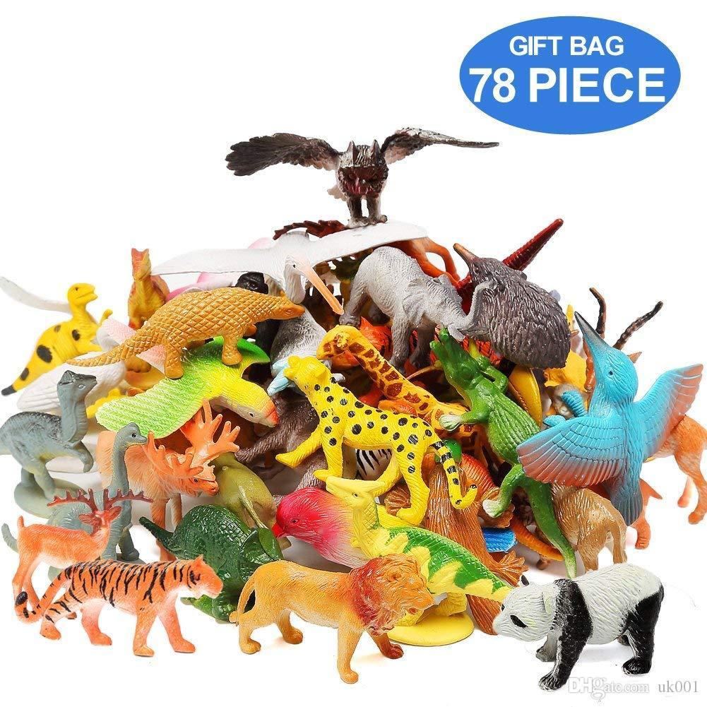 718a70fcc834 Compre Figuras De Animales Conjunto De 78 Surtido Realista 32 Mini Animales  De La Selva 12 Dinosaurios 12 Pájaros 22 Accesorios Favores De Fiesta  Juguetes ...
