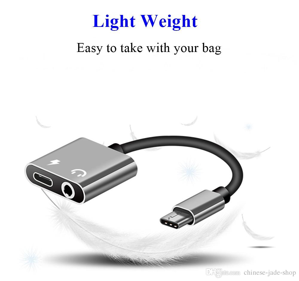 2 IN 1 Type C Aux Audio Cable Adapter USB Type C to 3.5mm Earphone Jack Charge charging Adapter For Samsung Smart phone