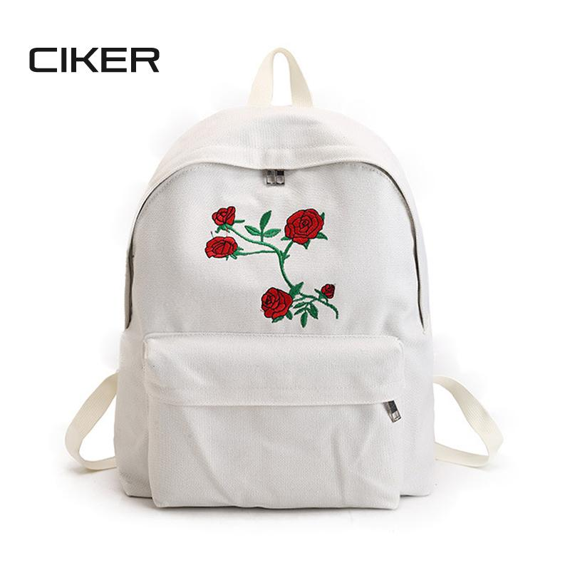 CIKER Women Canvas Backpack Cute Fashion Rose Printing Backpacks for ... 5a19f9bed381c