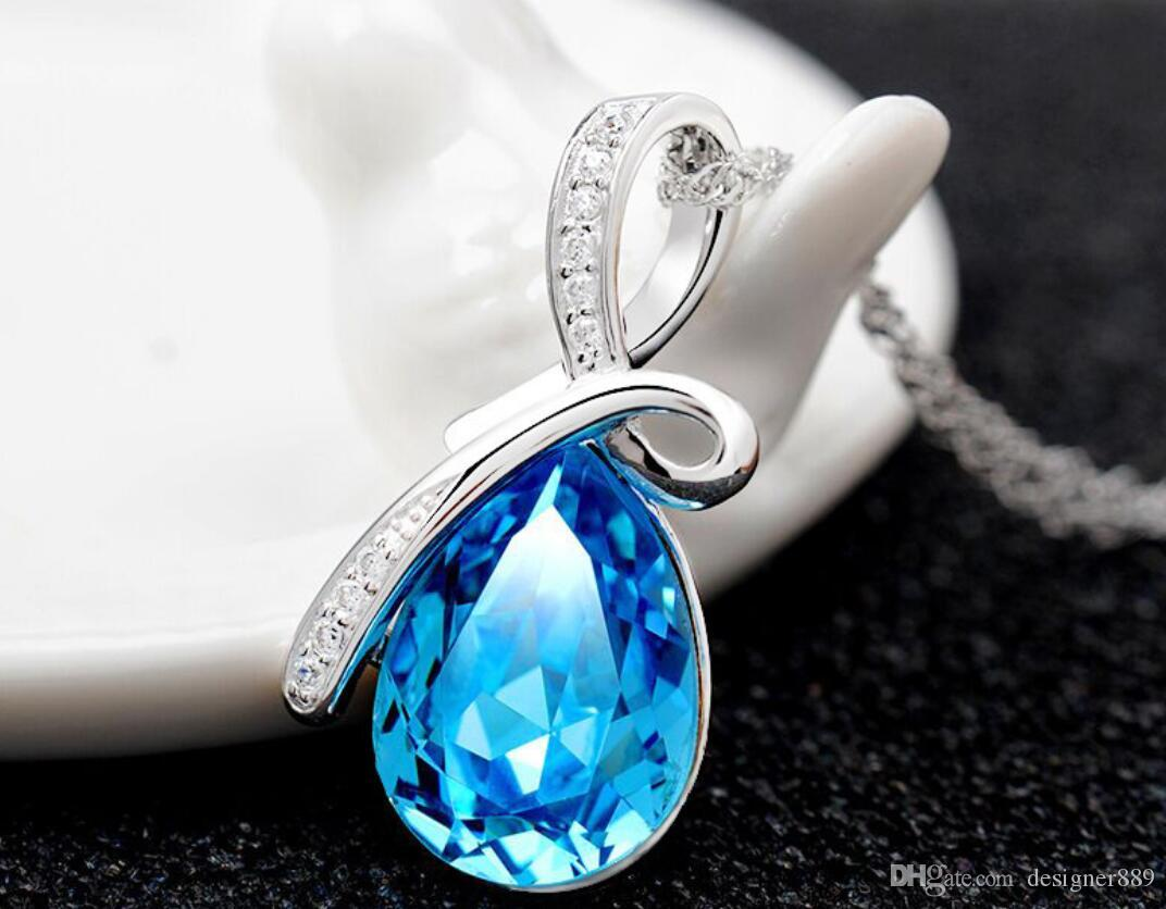 Newest Austria Crystal Necklaces Jewelry Fashion Women Crystal Pendant necklace Jewelry Fit 925 Silver Necklace Pendant Mix Colors Free ship