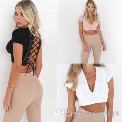 f6b55b3078428 2019 Slim Short Summer Bralette Crop Tops Slim Bandage Back Deep V Neck  Black White Sun Tank Tops Women Girl From Sarah028