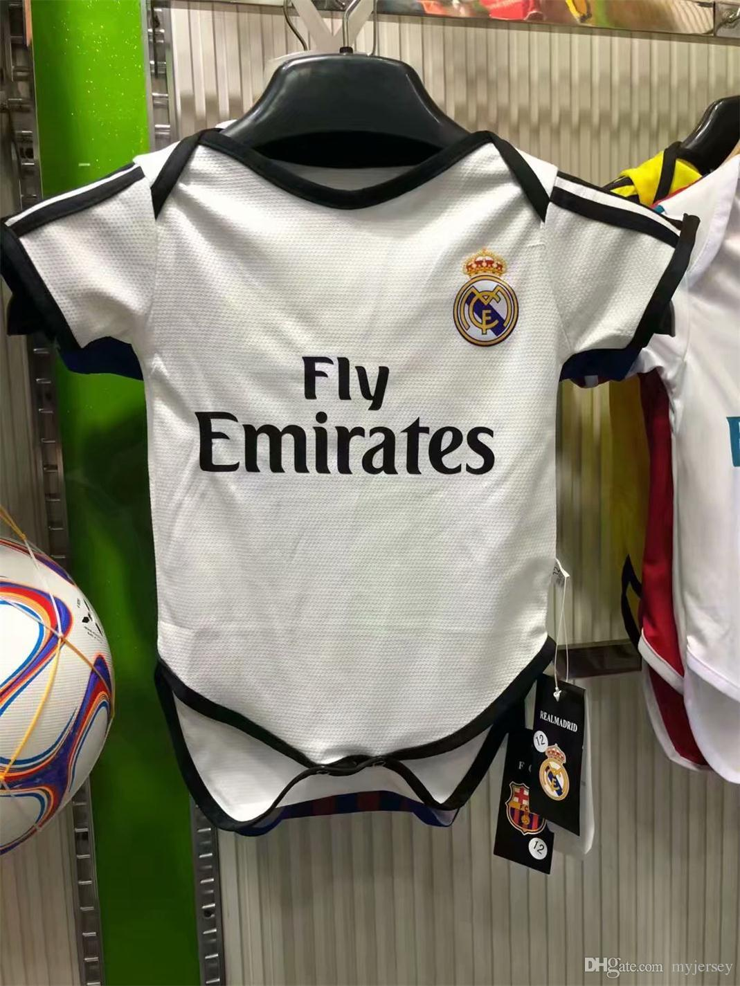 best website 6f86d 15151 2018 2019 Real Madrid Baby soccer Jerseys Short Sleeved Jumpsuit Baby  Triangle Climb Clothes PSG 18 19 baby football shirt