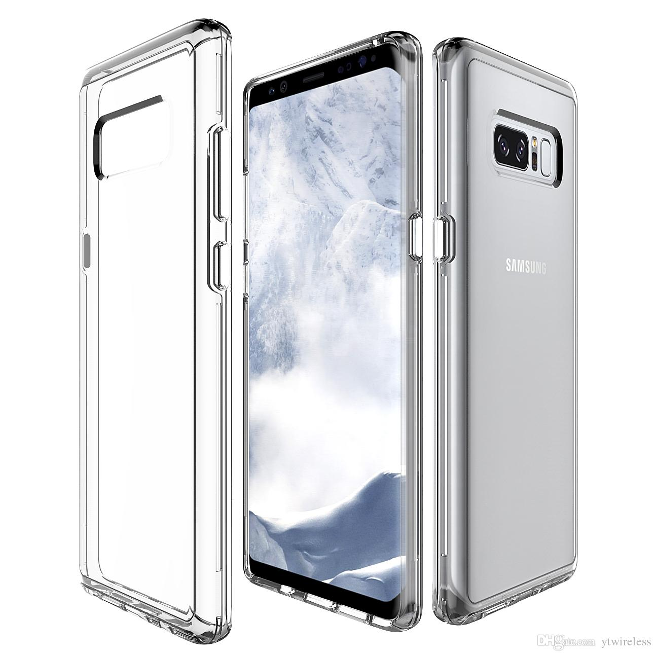 For Samsung S6 S7 Edge S5 S8 Plus Clear Soft Tpu Hard Pc Hybrid Anti Scratch Coating Dual Layer Protection Luxury Phone Case