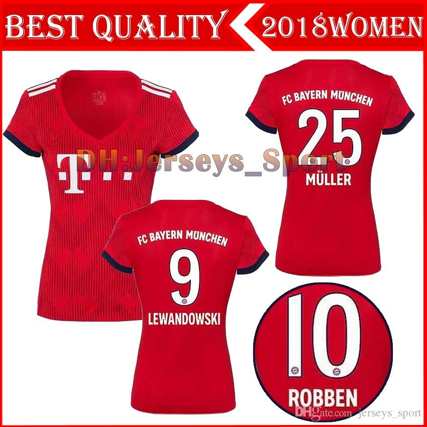18 19 Bayern Munich Home Soccer Jerseys 2018 2019 WOMEN Müller 25  LEWANDOWSKI 9 RIBERY 7 11 VIDAL 23 Home Football Shirts UK 2019 From  Jerseys sport ccb357085