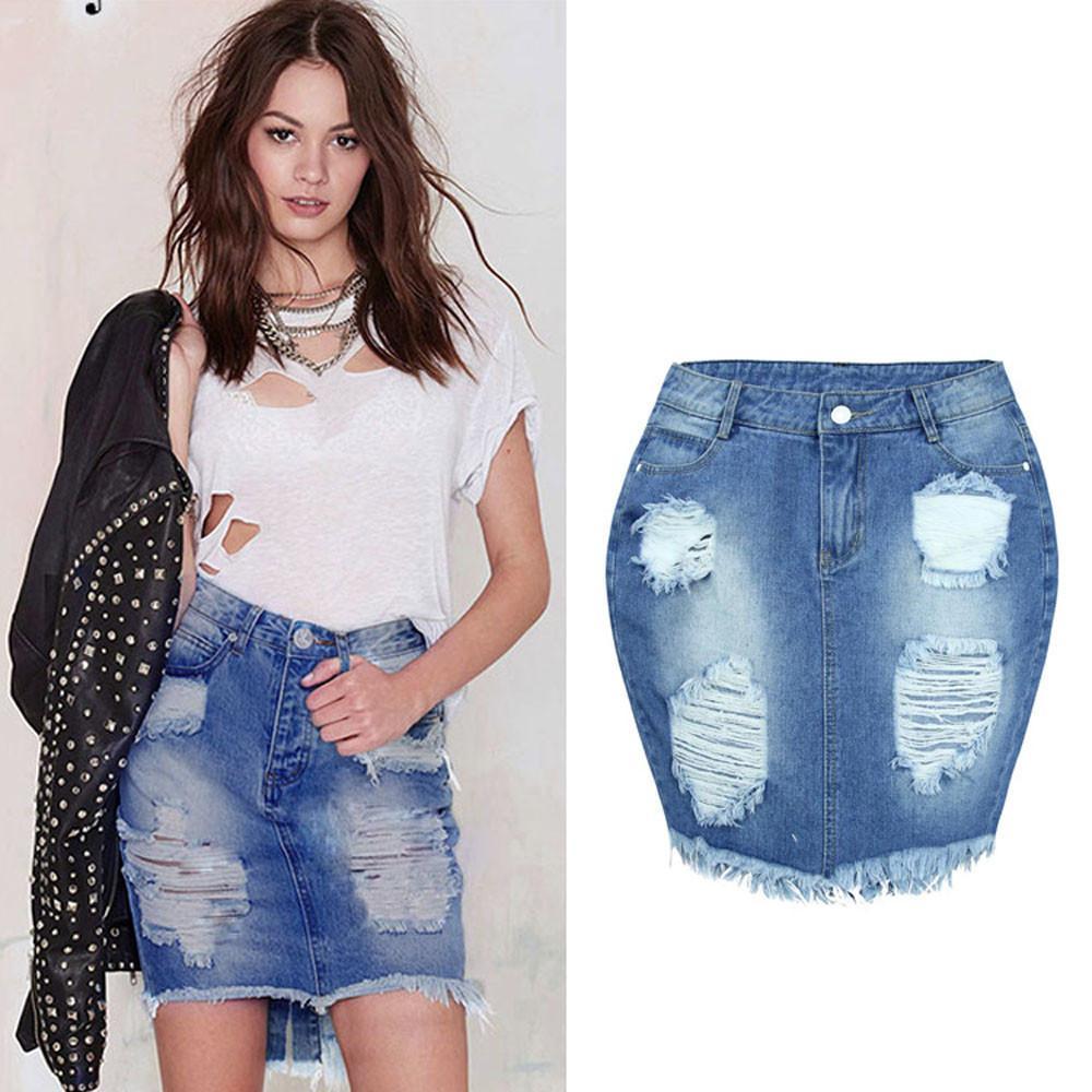 bb5d5140c Compre Mulheres Denim Saia Jeans Cintura Alta Rasgado Vintage Skinny Short  Lápis Saia De Zhusa, $23.73   Pt.Dhgate.Com