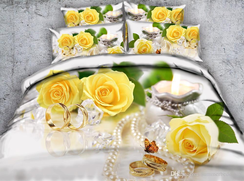 3d Yellow Flowers Duvet Cover Butterfly Bedding Sets Queen