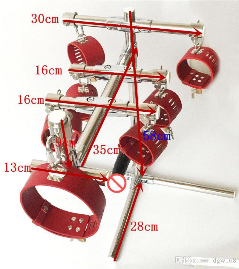 Female DBSM bondage torture device stainless steel restraints frame leather neck collar handcuffs ankle cuffs adult sex games toy