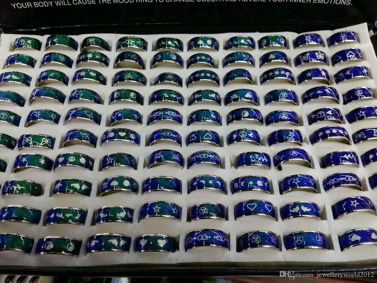 Оптовая печать кольца настроение кольца цвета Персиковое сердце, буквы, символы мира настроение кольцо микс дизайн микс размер