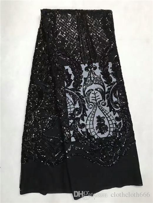 of sequins plain Black french net lace fabric African tulle lace for Nigeria sewing garden clothes high quality jl-1-7