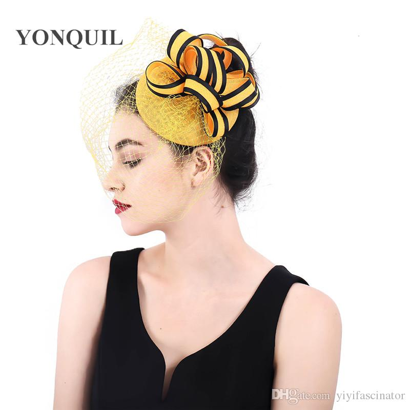 ce33ffa7c4e Women Elegant Imitation Linen Headband Fascinator Hairbands Wedding Flower  Headwear Ladies Hats Fedora Hair Clips Accessories SYF386 Ladies Vintage  Hats ...