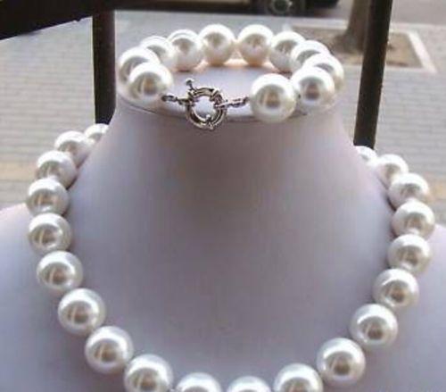 Set di gioielli in argento con collana di perle di conchiglie di conchiglia di mare bianco del sud 14MM