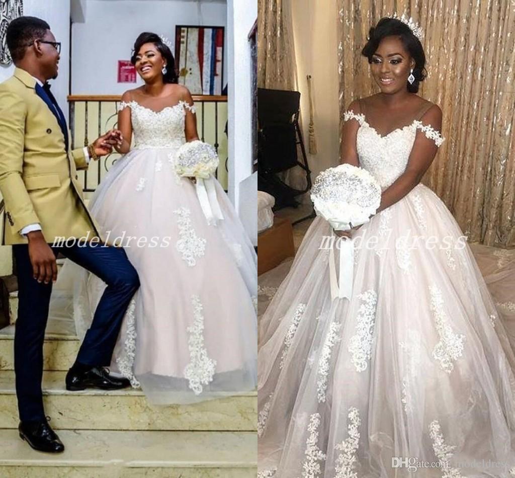 African Blush Ball Gown Wedding Dresses 2018 Sheer Jewel Neck Sweep Train  Appliques Country Garden Bridal Gowns Plus Size Vestido De Novia Cheap Ball  Gown ... 03b313ac1
