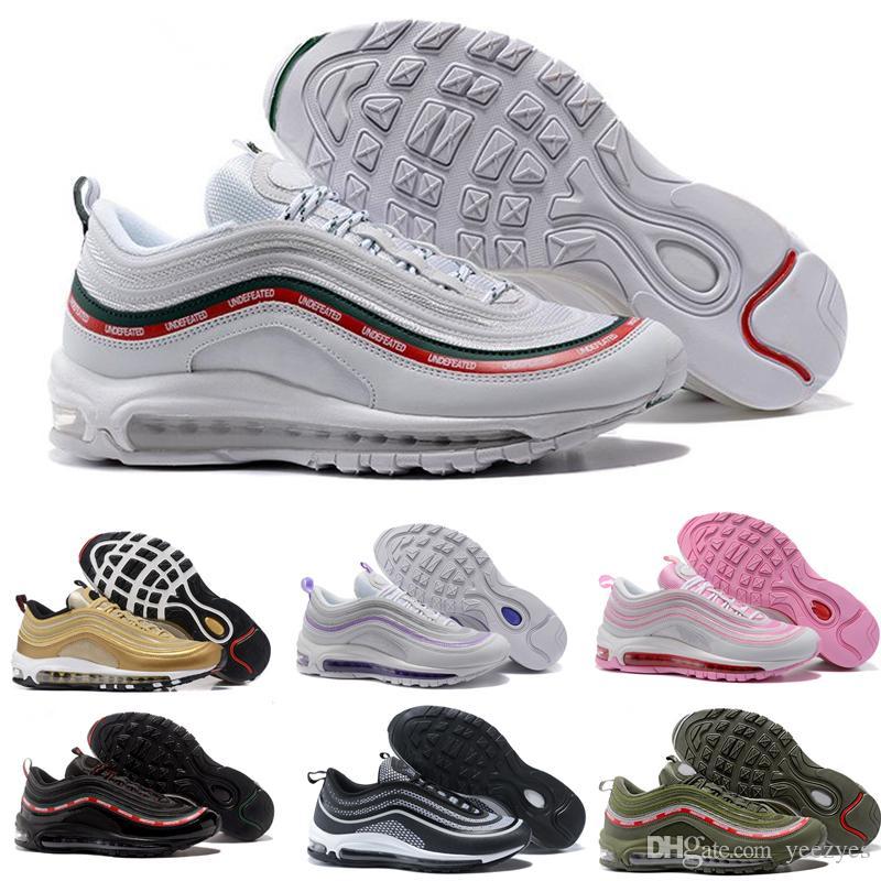 Mejores hombres Zapatos Nike Air Max 97 invictos x OG Casual Zapatos al aire libre Zapatillas Mujeres Deportes Zapatos Maxes al aire libre Negro