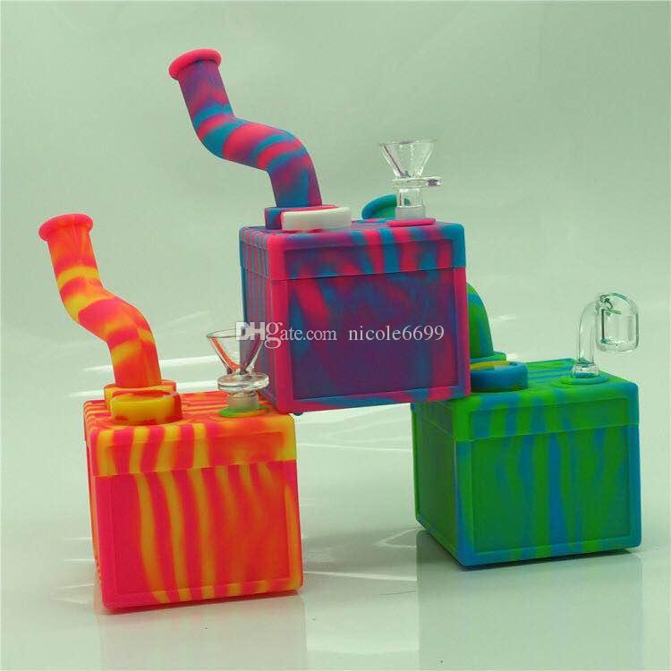 Portable Hookah Silicone Water Pipes for Smoking Dry Herb Unbreakable Water Percolator Bong Smoking Oil Concentrate cube wax dab rig