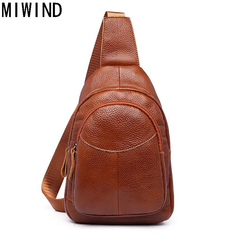 dd5a7b5590b8 MIWIND Men Chest Pack Leather Genuine Cowhide Back Bag Crossbody ...