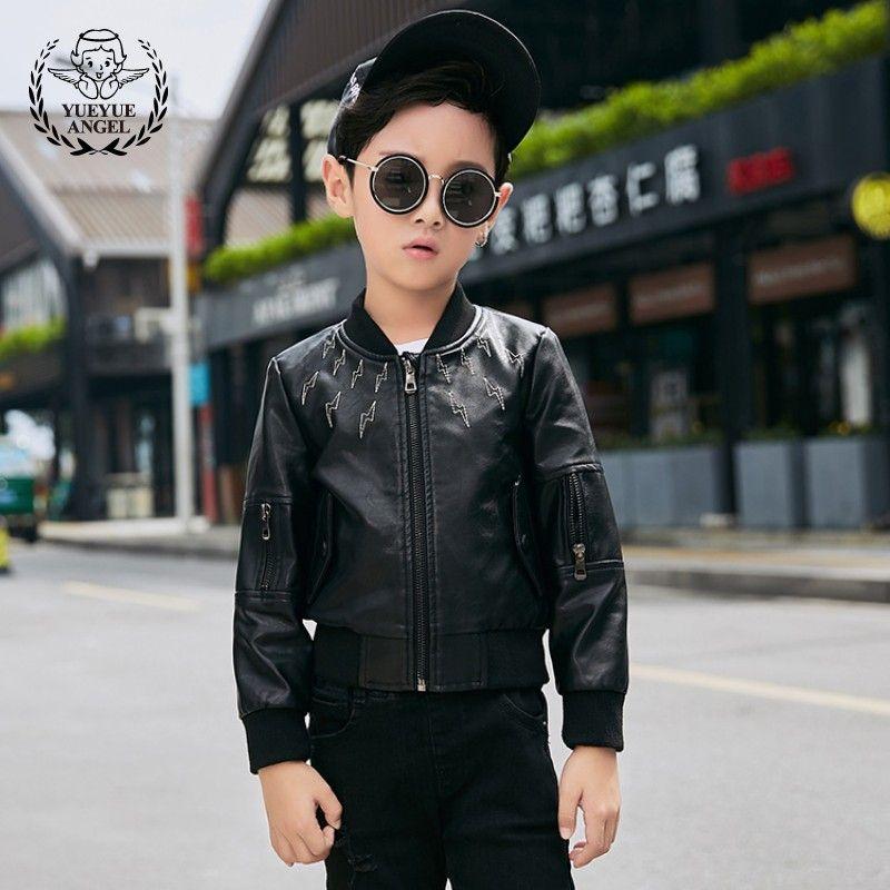 ecb873056a18 Boys Pu Leather Bomber Jacket Fashion Slim Fit Motor Biker Coat Kids ...