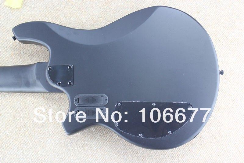 Hot Sale Top Qulity Music Man Bongo Metal Blue 6 String Active PickupsMatte Black Bass Electric Guitar