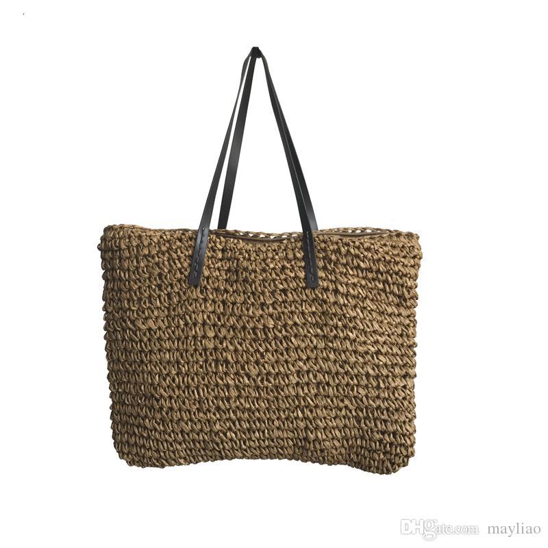 2018 Summer Fashion Beach Bags For Women Famous Brand Designer Crochet Straw  Woven Tote Handbags Ladies Casual Knitted Shoulder Bag Handbag Shoulder Bags  ... f3b5047b4a
