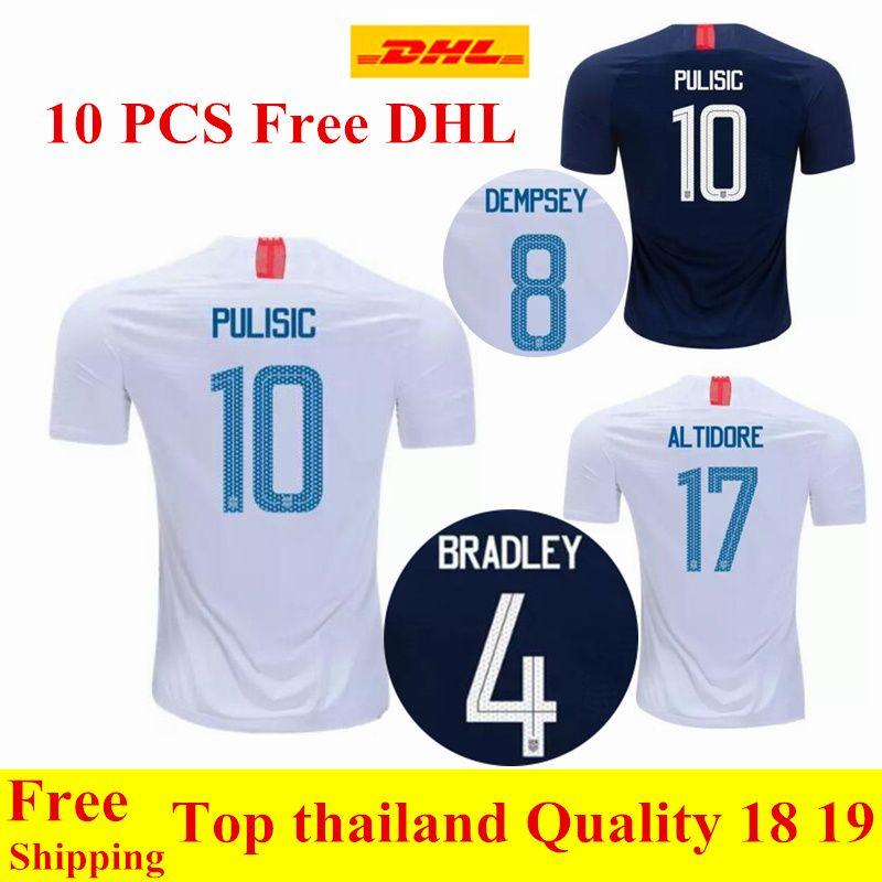 b0f11622c Wholesale DHL Thai Quality 2018 2019 USA PULISIC Soccer Jersey 18 19  DEMPSEY BRADLEY ALTIDORE America Football Jerseys UK 2019 From  Qianxingzhe33