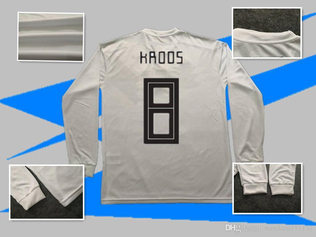 2018 Copa Del Mundo De Manga Larga Casa Blanca Camisetas De Fútbol 13  Muller 1819 Camiseta De Fútbol Del Equipo Nacional 19 Gotze 10 Ozil 8 Kroos  Camiseta ... bed1739b73a5c