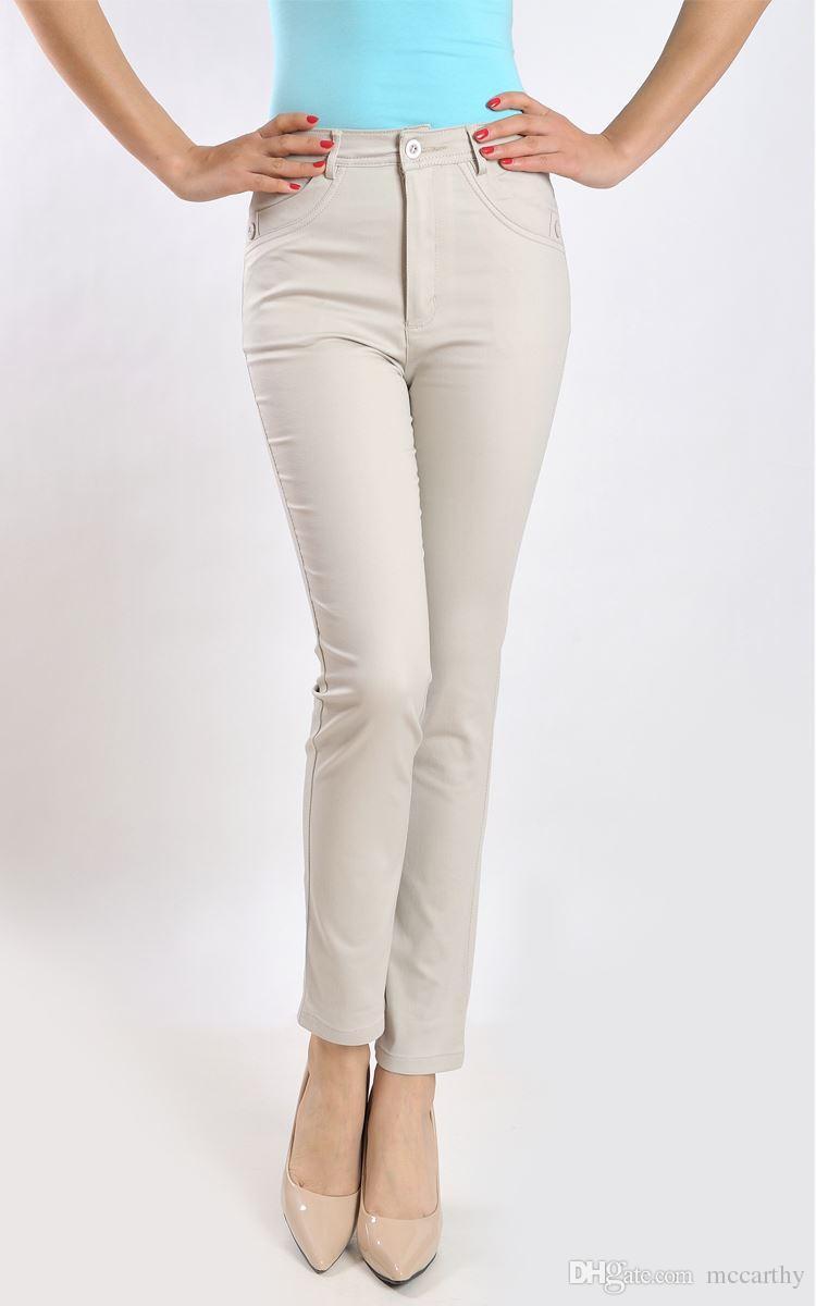 664c01b39af Straight Pants Women Cotton Plus Size High Waist Casual Capris ...