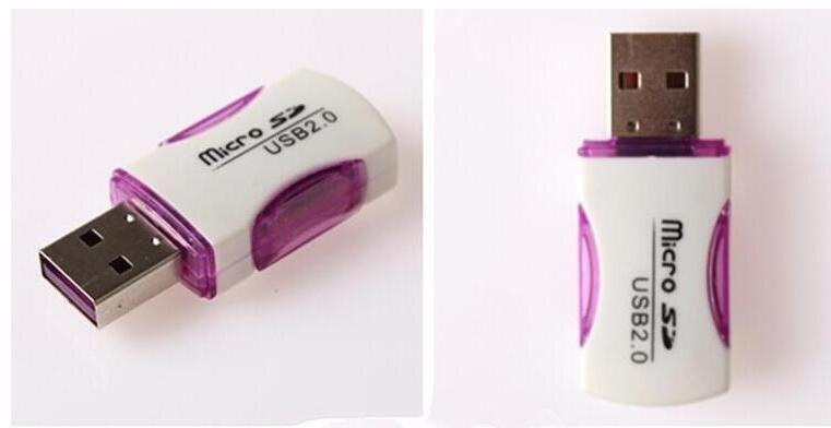 Alta calidad USB 2.0 Lector de tarjetas T-flash lector de tarjetas ranura única adaptador de lector de tarjetas panda con luz LED rápido Envío