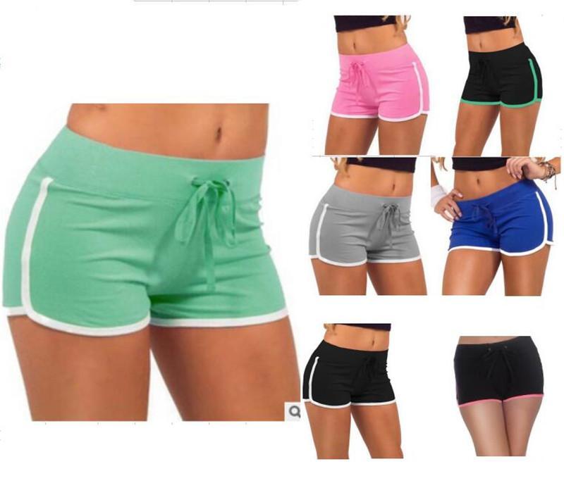 99e2148699c4 Algodón Mujeres Yoga Pantalones Cortos Deportivos Moda Gimnasio Ocio  Homewear Pantalones de Fitness 7 Color Cordón Pantalones Cortos de Playa  Dama ...