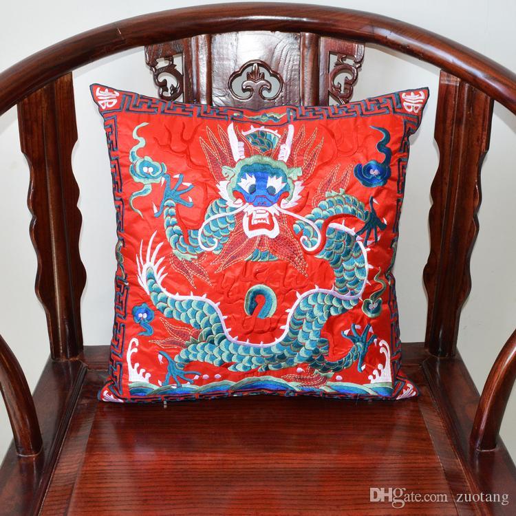 드래곤 전체 자수 중국 쿠션 커버 크리스마스 베개 장식 의자 소파 쿠션 공단 민족 쿠션 커버 45x45cm