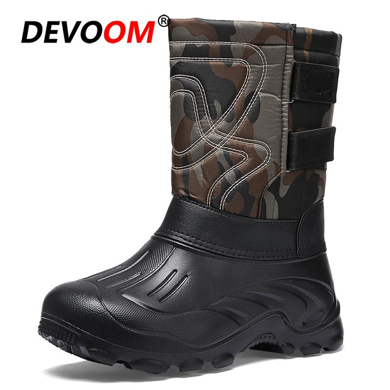 18d38fe1e029 2018 Fashion Snow Boots Men Waterproof Pack Boot New Design Detachable Fur  Lining Camouflage High Shaft Winter Boots Men Size 46 Rain Boots Mens Shoes  From ...