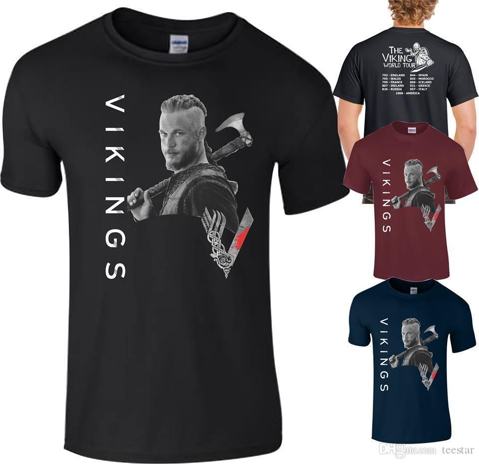 Compre Vikings T Camisa Ragnar Lothbrok Mundo Turnê Lagertha Rollo Floki  Top Homens Senhoras 2018 Nova Chegada Dos Homens T Shirt Novo De Teestar b2ad3a90ba232