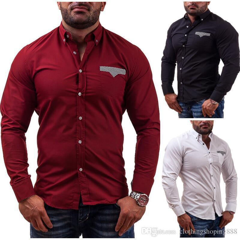 0b00a8a476f 2018 New Fashion Men Shirt Slim Casual Solid Color Long-Sleeve Male ...