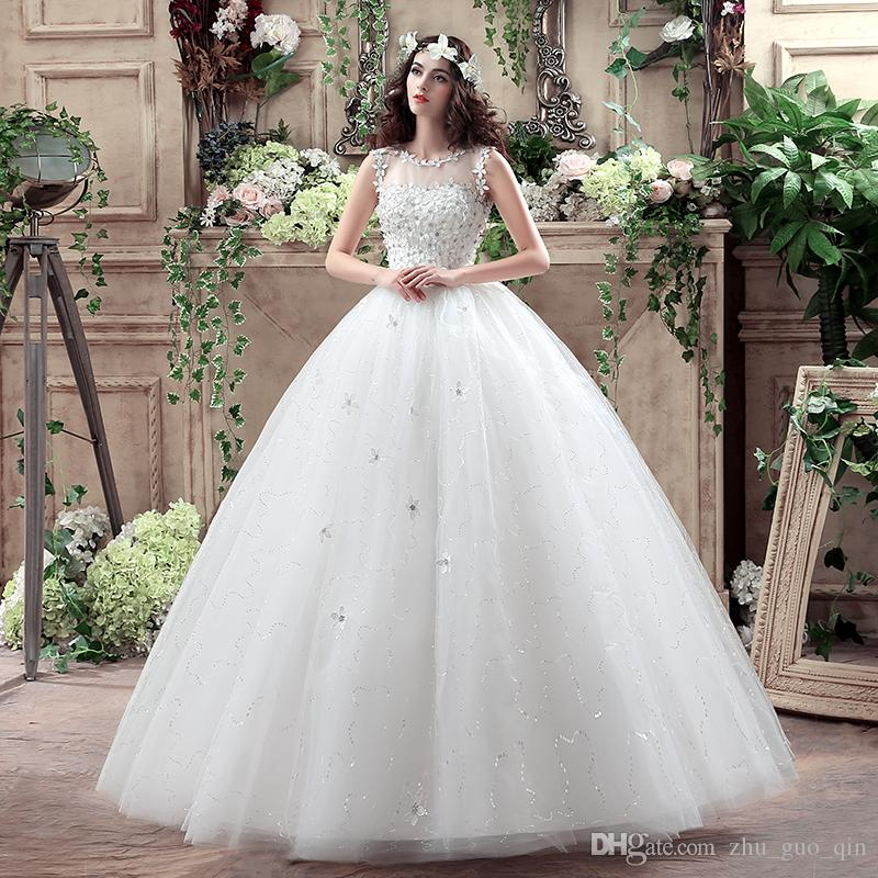 Red Retro Korean Style Big Long Train Wedding Dress 2018 Vestidos De Novia Real Photo Plus Size Princess Brid Lace with Flowers