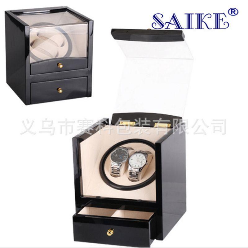 ramasser grande qualité Quantité limitée Spot en gros noir piano peinture tête unique 2 remontage automatique boîte  de montre électrique en agitant la table table tournante électrique