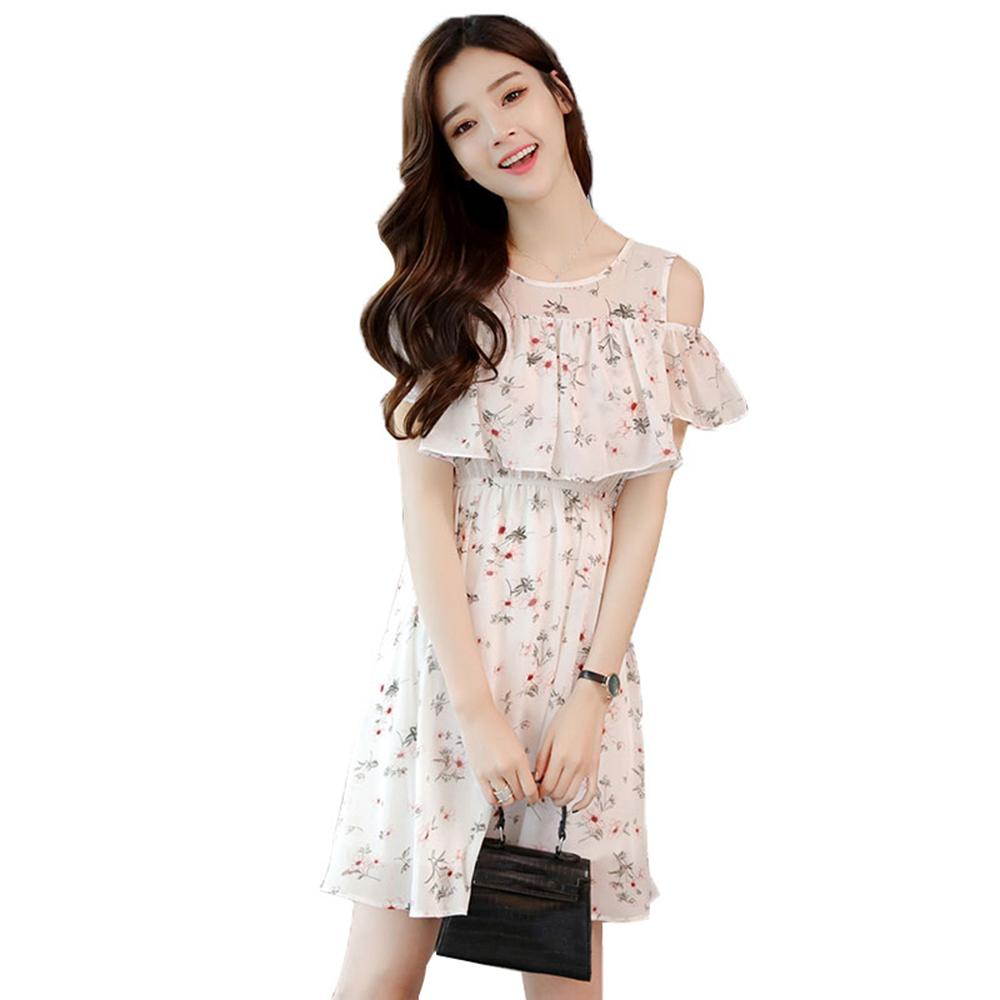 9c554704bb 2019 Off Shoulder Floral Dress Print Summer Short Sleeve Vintage Cute  Kawaii Sundresses A Line Chiffon Dresses Large Sizes 60Q256 From Easme, ...