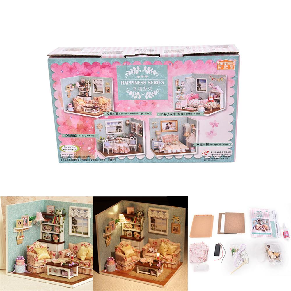 Fai-da-te Fai-da-te Wooden Dollhouse Miniature Kit Happy Living Room Con Cover Furniture Cute camera da letto Model Girl Doll House Room Box
