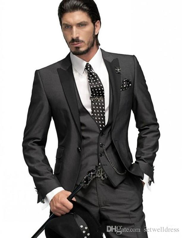 2018 New Black Groom Tuxedos Cheap Best Man Prom Suit Peak Lapel Groomsmen Suit Custom Made Men Wedding Suits Jacket+Pants+Vest