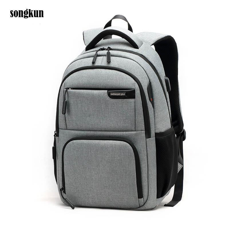 c89032c3f5ab Gray Fashion College Students School Bag Teenagers Bolsa for 15.6 Inch  Notebook Laptop Backpack Back Ventilation Design