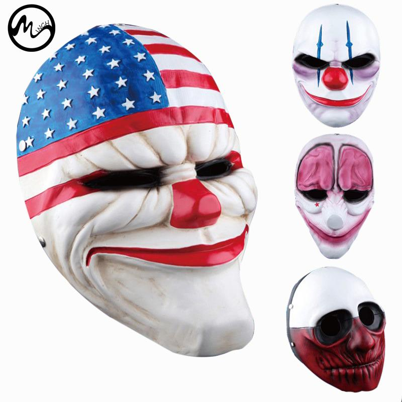 Halloween Clown Mask Michael Myers.Minch Clown Masks For Masquerade Party Scary Clowns Mask Payday 2 Halloween Horrible Mask