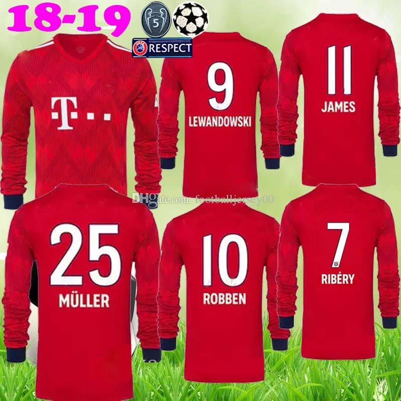 99c002231d 2018 2019 JAMES Camiseta De Fútbol Bayern Munich De Manga Larga NEUER  LEWANDOWSKI MULLER ROBBEN BOATENG TOLISSO Portero 18 19 Camisetas De Fútbol  Por ...