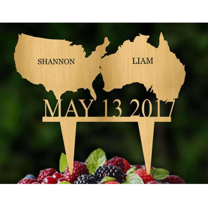 2018 Personalized Custom Continent Wedding Anniversary Cake Topper ...