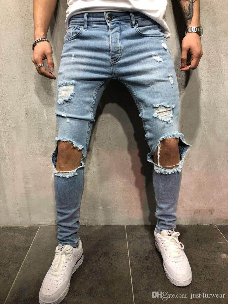 New Mens Ripped Holes Jeans Straight Slim Elastic Denim Skinny Jean Black  Blue Jeans Male Long c08de25f7d