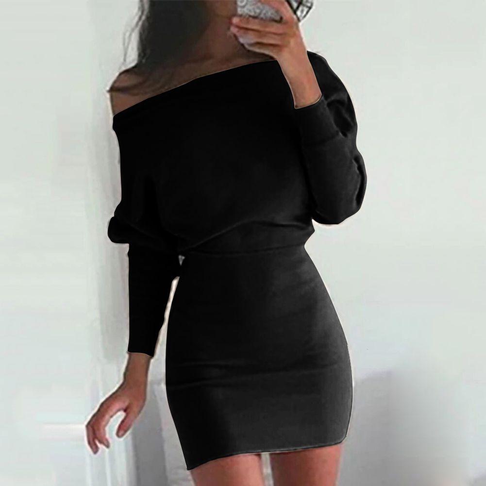 26160db63386 2019 Anself Fashion Women One Shoulder Dress Casual Bodycon Dress Solid  Long Sleeve Off Shoulder T Shirt Female Black Khaki Red From Edward03