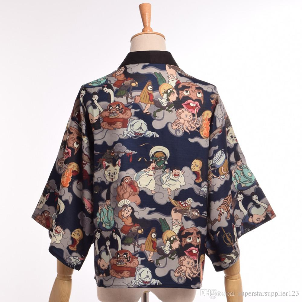 Hyakki Yakou Style Daily Costume Women Japanese Casual Kimono Jacket Cosplay Darkness Lolita Loose Yukata Trench Outwear