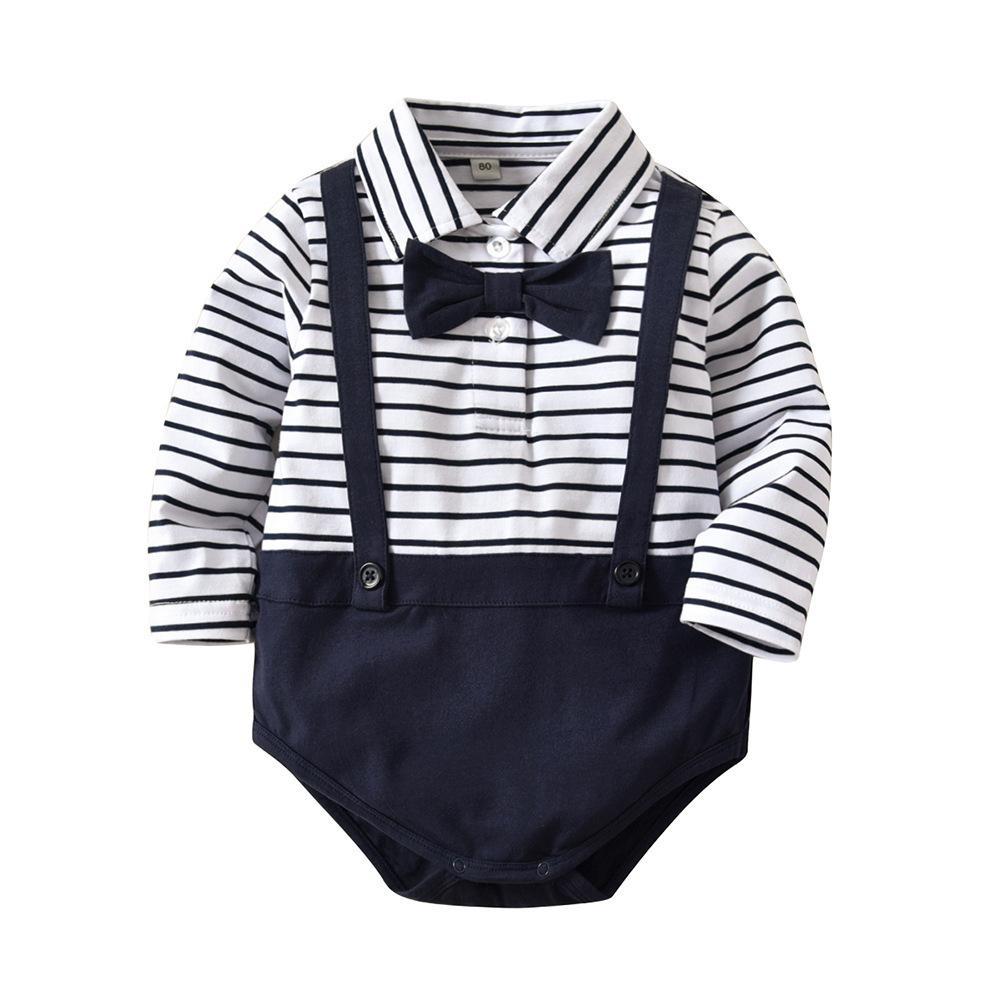 75515270747e 2019 INS Baby Clothing Romper Girl Boy Gentleman Stripped Boy Romper ...