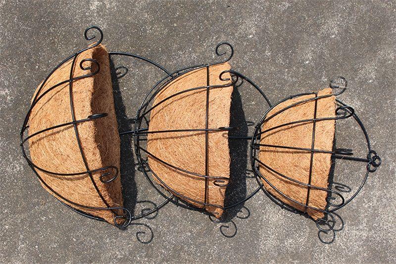 Noix de coco forgé demi-pot de fleurs suspendu pots fenêtre rotin décor pots mur de fer plante de jardin planteur panier de fleurs vente chaude 9hz3 Z